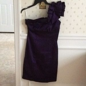 One shoulder purple crepe dress